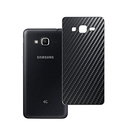 Vaxson 2 Unidades Protector de pantalla Posterior, compatible con Samsung Galaxy J2 Prime Grand Prime Plus, Película Protectora Espalda Skin Cover - Fibra de Carbono Negro