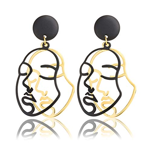 Jovivi Women Long Dangle Drop Earrings Gold Human Face Geometric Abstract Art Hollow Wrap Pin Vine Stud Earrings Fashion Jewellery for Women Girls Birthday