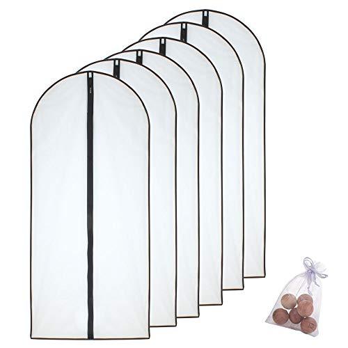 HomeClean Fundas Ropa 60x140cm (6pcs) Funda para Traje Transparente con Cremallera Completa y Bola de Cedro para Abrigos Largos de Invierno Ropa de Vestir