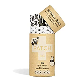 PATCH Kids Eco-Friendly Bamboo Bandages for Abrasions & Grazes Hypoallergenic Wound Care for Sensitive Skin Compostable Biodegradable Latex Free Plastic Free Zero Waste Coconut Oil 25ct