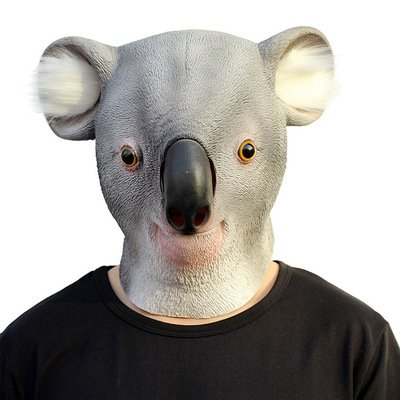 fightingeveryone1O Deluxe Neuheit-Halloween-Kostüm-Party-Latex-Tierkopf-Schablone(Koala)