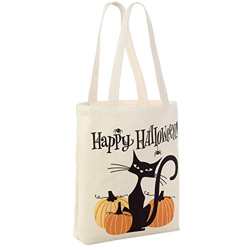 """Hallmark 13"""" Large Halloween Tote Bag (Black Cat and Pumpkins) Reusable Canvas Bag for Trick or Treating, Grocery Shopping and More"""