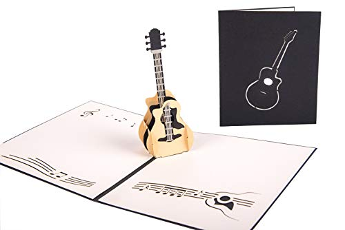 Smiling Art Pop Up 3D Karten, Glückwunschkarten inklusive Umschlag und Schutzhülle, handgearbeitet, handgefertigt, Geschenkkarte für Gutschein, Einladungskarte, Geburtstagkarte (Hobby, Gitarre)