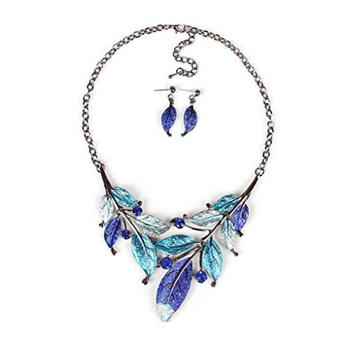 zhibeisai Diseño cuelgan de la Hoja Hoja de Cristal Collar Fornido Pendientes determinados de la aleación de Las Mujeres