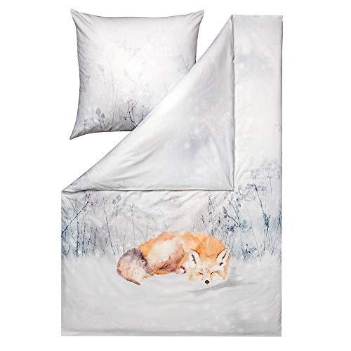 ESTELLA Bettwäsche Felix | Silber | 135x200 + 80x80 cm | Kuschel-Flanell-Bettwäsche | trocknerfest und pflegeleicht | ideal für die kalte Jahreszeit | 100% Baumwolle