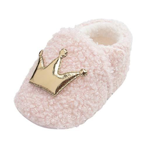 FNKDOR Schuhe Unisex Neugeborene Baby Lauflernschuhe Winterschuhe Plüschschuhe Pink 0-3 Monate Mit Warmer Gefüttert Weicher Boden rutschfest Klettverschluss Kaiserkrone Babyschuhe