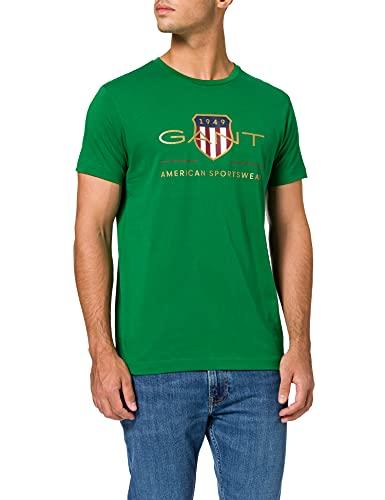GANT D2. Archive Shield SS T-Shirt Camiseta, Verde pálido, L para Hombre