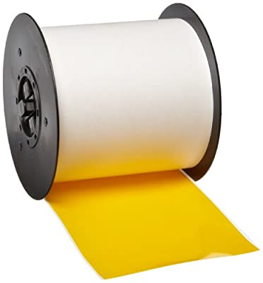"Brady 113191 MiniMark 100' Length x 4"" Width, B-595 Vinyl, Yellow Indoor/Outdoor Industrial Label Printer Super Tough Tape"