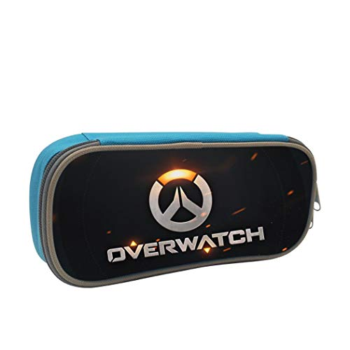 BTXX Overwatch Pencil Case Big Capacity Pencil Bag Makeup Pen Pouch Durable Students Stationery with Double Zipper Pen Holder for School/Office Blue