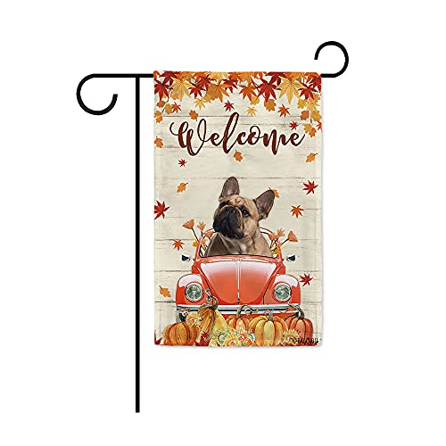BAGEYOU Welcome Fall Dog Garden Flag French Bulldog Drives The Beetle Vintage Car Harvest Pumpkin Patch Sunflowers Maple Leaf Decor Home Banner for Outside 12.5x18 Inch Print Both Sides