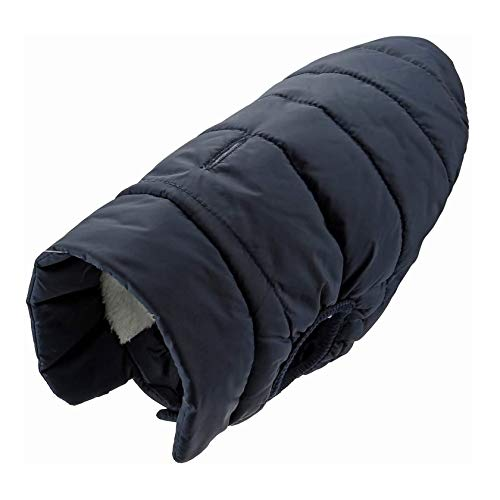 Mogoko Fleece Dog Winter Jacket with Harness/Leash Hole, Waterproof Pet Warm Coat Black Vest for...