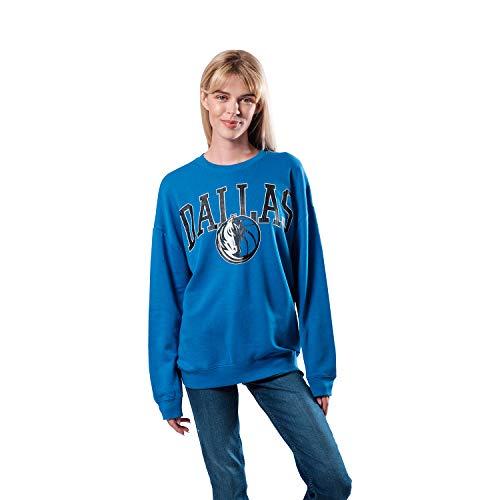 Ultra Game NBA Dallas Mavericks Womens Extra Soft Fleece Distressed Oversized Pullover Sweatshirt, Team Color, Small