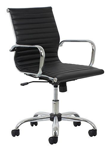 Essentials Soft Ribbed Leather Executive Conference Chair with Arms - Ergonomic Adjustable Swivel Chair, Ivory/Chrome (ESS-6090-IVY)