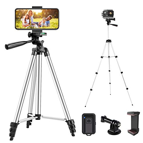 LINKCOOL 42' Phone Tripod Stand, Cell Phone Tripod Lightweight Travel Tripod for iPhone/Android Smartphone with Phone Holder & Bluetooth Remote - Silver