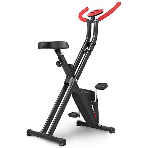 pooboo Foldable Exercise Bike Indoor Cardio Bike with Manual Resistance Bikes Exercise