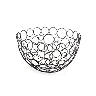 Spectrum Diversified Shapes/Circles Round Fruit Bowl, Black