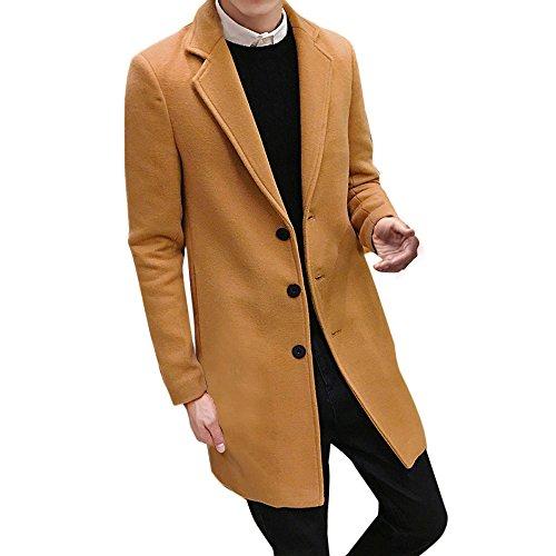 Hot Daoroka Men Plus Size Slim Fit Long Wool Jacket Formal Single Breasted Figuring Overcoat Jacket Outwear (L, Khaki)