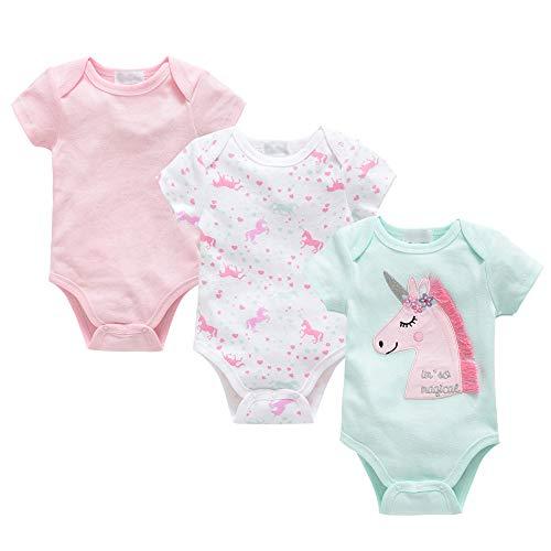 Conjunto de 3 peleles unisex de manga corta para bebé, pijama de algodón, ropa de verano de 0 a 12...