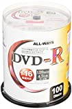 ALL-WAYS DVD-R 4.7GB 1-16倍速対応 100枚 データ アナログ映像のパソコンでの記録用 スピンドルケース入り インクジェットプリンタでのワイド印刷可能 ALDR47-16X100PW