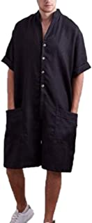 Men's Cotton Jumpsuit Overalls,Super Baggy Short Onesies Rompers with Pockets