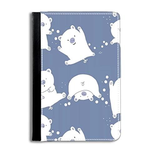 Cubierta del Caso del Estilo del Libro Funda Protectora Moda Compatible con New iPad or iPad 2 3 4 SafeSleeve impresión White Big-Eyed Cat