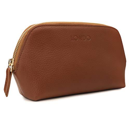 Londo Bolsa de Maquillaje de Cuero Genuino Bolsa de cosméticos Organizador de Viaje Neceser Embrague (marrón Claro)
