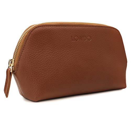Londo Genuine Leather Makeup Bag Cosmetic Pouch Travel Organizer Toiletry Clutch, Light Brown