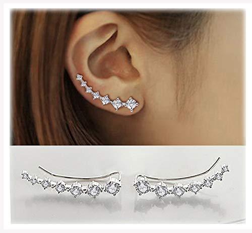 Elensan 7 Crystals Ear Cuffs Hoop Climber S925 Sterling...