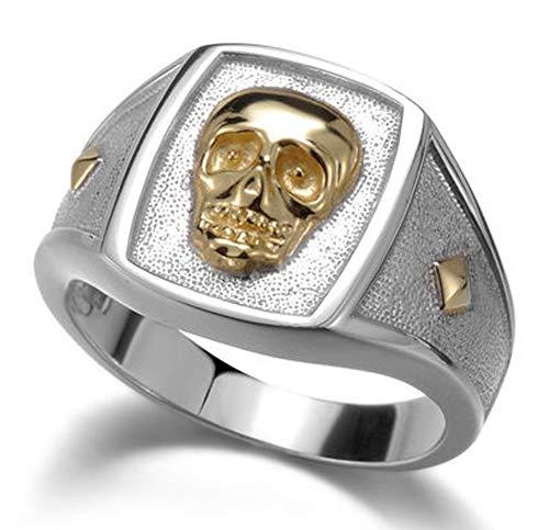 RXSHOUSH Anillo de compromiso para hombre con calavera, plata S925, diseño de calavera de oro, para hombres y mujeres, regalo de novio, tendencia de moda, anillo de tamaño 15-24, 20#