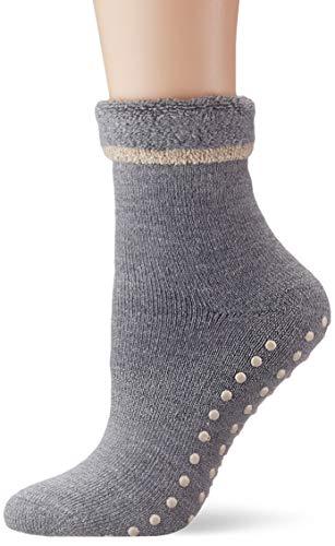 ESPRIT Damen Stoppersocken Cosy - Schurwoll-/Baumwollmischung, 1 Paar, Grau (Mid Grey Melange 3530), Größe: 39-42