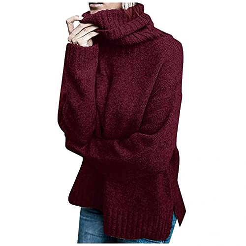 NHNKB Jersey de punto cálido para mujer, cuello alto, chaqueta de invierno, jersey de punto, sudadera, parte superior, corta y parte trasera larga, borgoña, XL