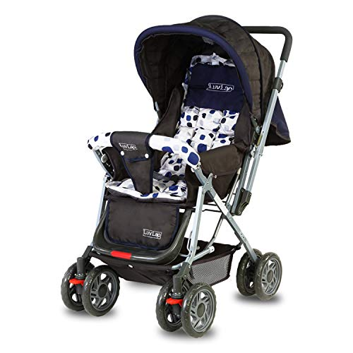 LuvLap Sunshine Stroller/Pram, with Mosquito net, for Newborn Baby/Kids, 0-3 Years (Navy Blue)
