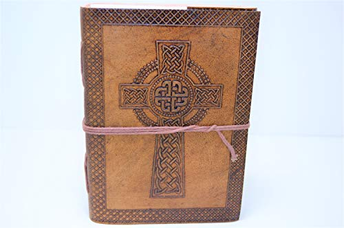 Sanctuary Traders Genuine Celtic Cross Leather Bound Journal - Brown Vintage Diary or Notebook for Writing - Superb Craftsmanship - great for Travel or Gifts - 5'x7' - Antique