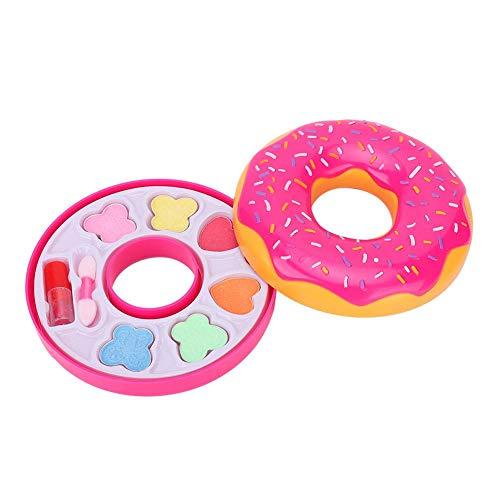 Tnfeeon Kinder Echt Make up Kit, Donut Form Sicherheit Kosmetik Box Spielzeug so tun, als Lippenstift Lidschatten Make up Kit für Mädchen