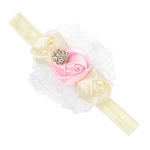 Accessoire Cheveux Ruban Bébé Rose Dentelle Fleur Bandeaux Fille Enfants Beige