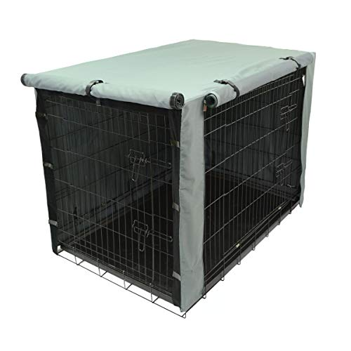 TOPEIUS Dog Crate Cover Cage Cover for 42 Inches Double Door Wire Crate, Durable Waterproof Pet Kennel Covers with Mesh Window