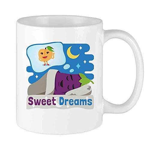 N\A Lustige Kaffeetasse Emoji Aubergine und Pfirsich benutzerdefinierte Tasse einzigartige Keramik Neuheit Männer & Frauen, die Teetassen & Kaffeetasse 11oz lieben