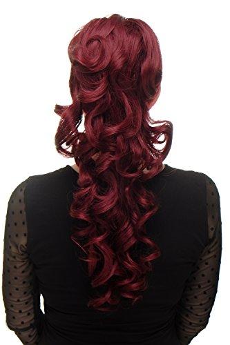 WIG ME UP ® - Extensión de pelo coleta muy larga (60 cm) voluminosa rizada rizos + peinetas y elástico color rojo granate WK03-39