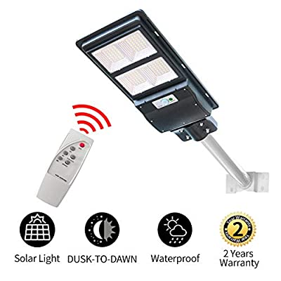 120W Solar Street Light Dusk to Dawn,Parking Lot Lights 18000mAH Iron Phosphate Battery LED Outdoor Lighting,9600Lm Light/PIR Motion Sensor for Garage,Patio,Garden,Driveway
