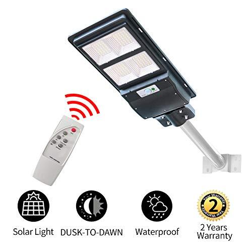 120W Solar Street Light Dusk to Dawn,Parking Lot Lights 18000mAH Iron Phosphate Battery LED Outdoor Lighting,9600Lm Light/PIR Motion Sensor for Garage,Patio,Garden,Driveway