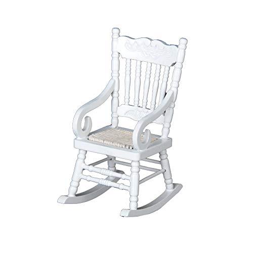 Puppenstuben-Stuhl aus Holz 01.12 Puppenhaus Miniatur-Hanf-Seil-Schaukelstuhl aus Holz Modell