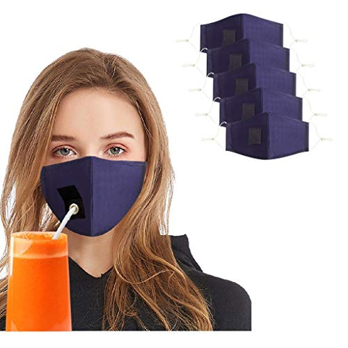5 Stück Mundschutz mit Loch, Erwachsene Ohrhaken verstellbar Anti Staub mundschutz waschbare Leicht zu Trinken Atmungsaktive mundbedeckung Stoff Unisex Wiederverwendbare Für Party (Blau)