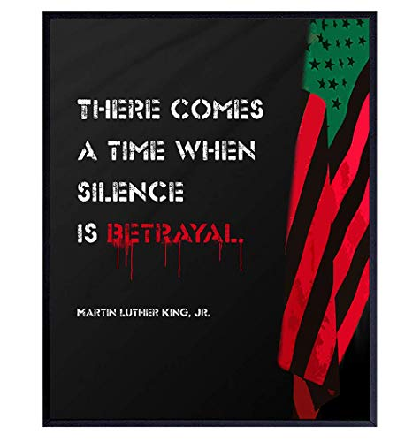 Martin Luther King MLK Wall Art - African American Art - Motivational Inspirational Quote Afro Flag - Civil Rights, Black Lives Matter Sign, Black Pride Decor Poster - Gift for Men, Women, Teens