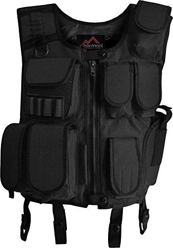 normani SWAT Weste Einsatzweste mit vielen Taschen und Pistolenholster in Schwarz Farbe Schwarz Größe M/L
