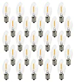 EMITTING Waterproof C9 Replacement LED Light Bulbs –0.6W Equivalent to 7W, White Warm 2700K Outdoor String Lights Vintage LED Filament Bulb, E17 Base Edison LED Light Bulbs, Clear Glass (C9-25PACK)