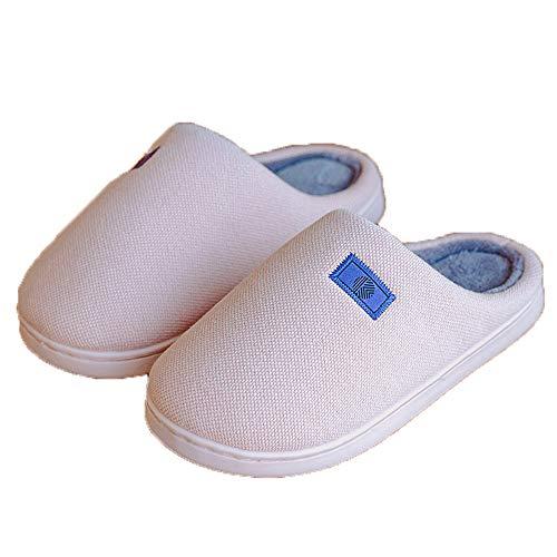Fudeer Zapatillas Casa Punto Felpa Cálidas Mujer Toboganes Lana Coral Acogedores Zapatos Algodón Espuma Viscoelástica Mullidos Antideslizantes Interiores Exteriores,Rosado,L