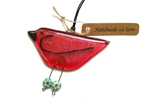 Christmas Red, Fused Glass Bird Suncatcher, hanging ornament or a fun gift for any occasion