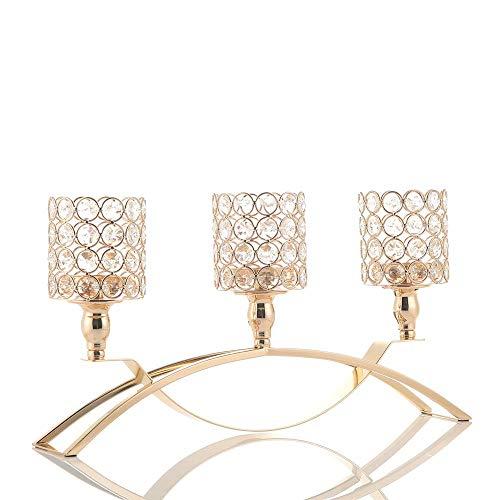 VINCIGANT Gold Kristall kerzenhalter Kerzenständer Zylinder 3 Armig Für Hochzeit Feier Haus Dekoration Urlaub Feier Jahrestag Feier Geburtstag Geschenk