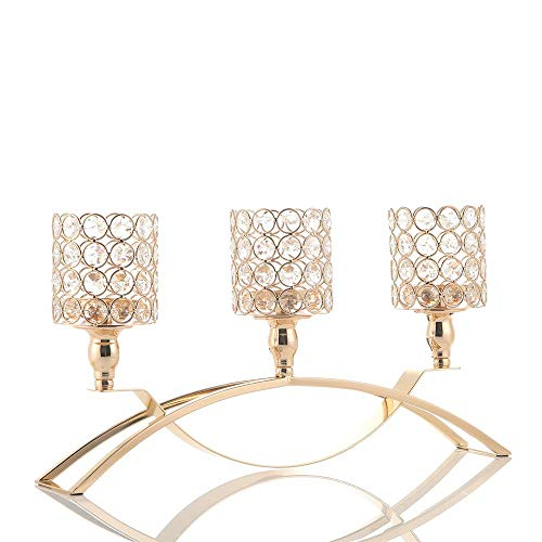 VINCIGANT Gold Crystal 3 Arms Candle Holders Centerpieces for Dining Room Table Buffet Cabinet Home Decoration(Gifts Boxed)