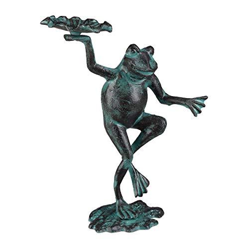 Relaxdays, grün Gartenfigur Frosch, wetterfest, innen & außen, Balkon, Terrasse, am Teich, Dekofigur, Gusseisen, Größe M